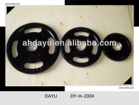 Solid Rubber Grip black Plate cast iron weight plate with steel ring