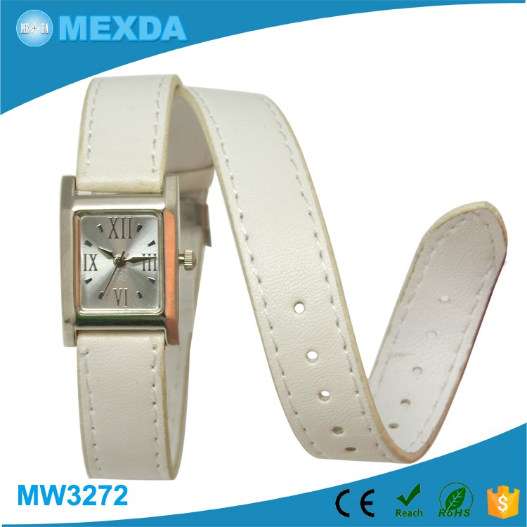 Girls fancy promotion pu long band lliving water proof one hand watch