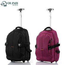 Black Trolley Laptop Bag For Women Ladies Purple Rolling Computer Bags With Trolley Strap
