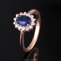 Handicraft Jewelry Sapphire Stone Setting 925 Silver in Rose Gold Vintage Ring For Women