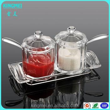 Stock High Transparent Acrylic Salt Container, Condiment Jar,kitchen Used  Condimen Container Set
