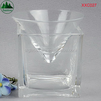 oem square base holder with cone stemless martini glasses - Stemless Martini Glasses