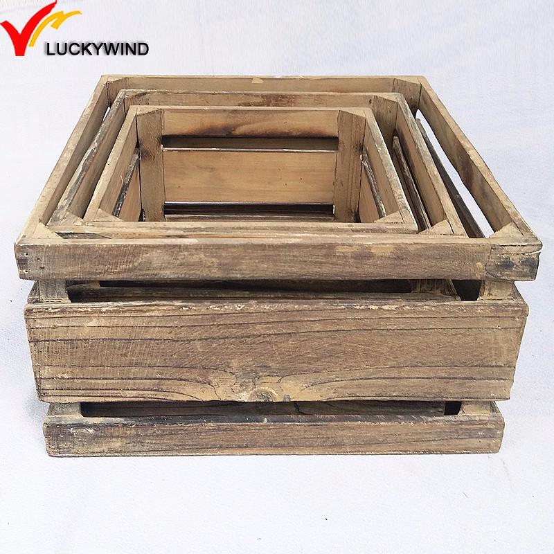 Farmhouse Kitchen Square Bulk Mini Wood Food Crates