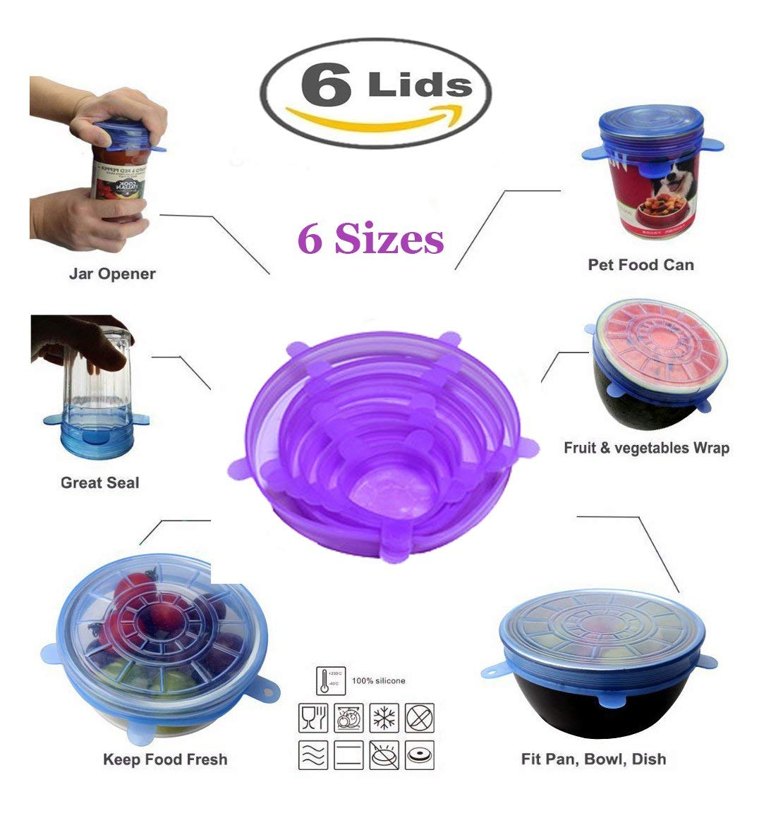 Silicone Stretch Lids Reusable,6-Pack Of Various Sizes Silicone Bowl Lids,Food Saver Covers,Wrap Bowl Pot Cup Lid- BPA Free,Dishwasher,Microwave,Oven and Freezer Safe (6 pcs, Purple)
