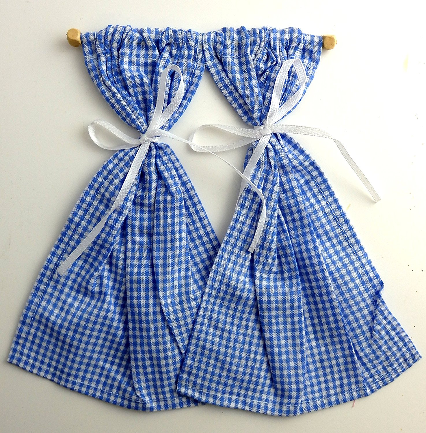 353a44de2373 Get Quotations · Melody Jane Dolls Houses House Miniature 1:12 Scale  Accessory Blue Gingham Curtains On Rail