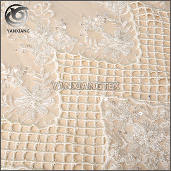 Wholesale Custom Grid pattern Beads white embroidery fabric
