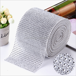 24 rows plastic crystal diamond mesh wrap roll sparkle rhinestone ribbon