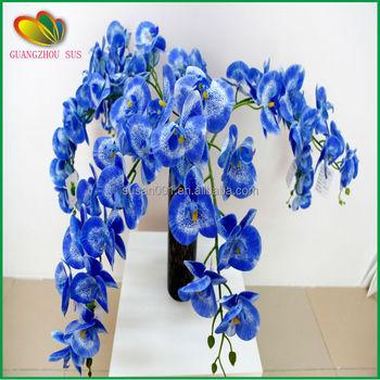 Real Touch Flowers Wholesale Fake Vanda Orchid Artificial Blue Arrangements For Home Decor