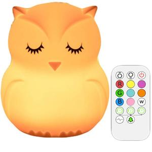YARRAE 2018 Cute Animal Silicone owl Baby Night Light with Touch Sensor with remote controller