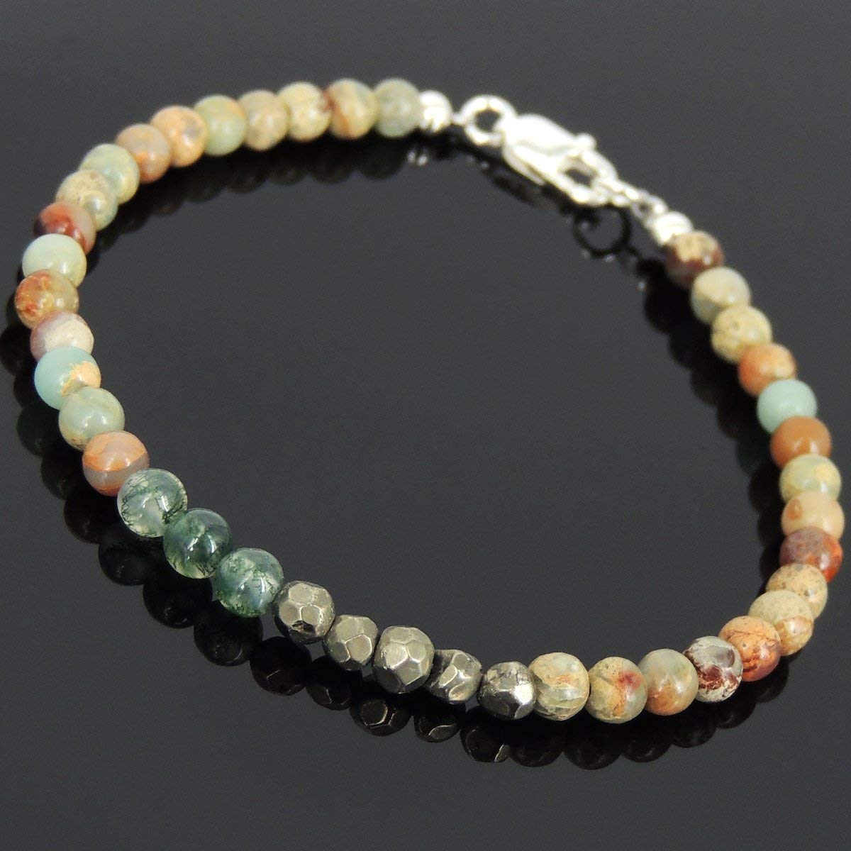 Men and Women Bracelet Handmade with 4mm Natural Jasper Stone, Gold Pyrite, Grass Agate Beads and Genuine 925 Sterling Silver Clasp, Beads