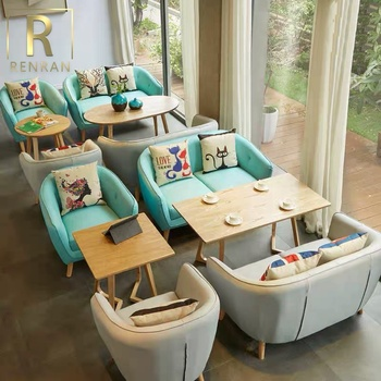 Popular lovely colorful design restaurant and cafe modern furniture tables and chairs sofa set for cafe