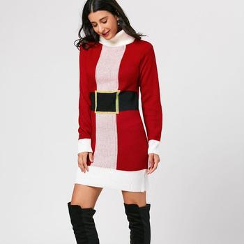 b1350112fe4 Christmas Belted Pattern Turtleneck Sweater Dress - Buy Sweater ...