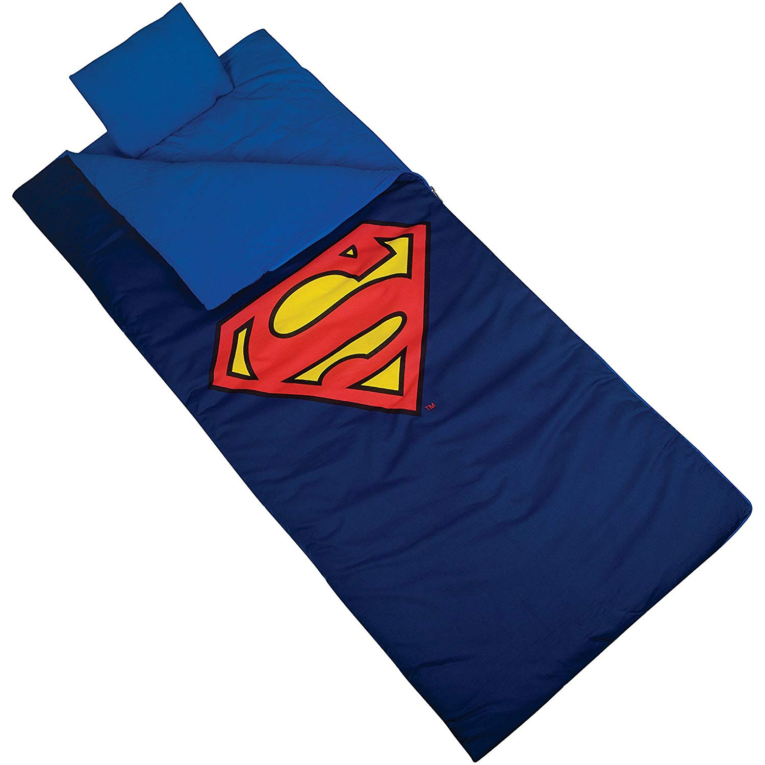 TL 2 Piece Kids Boys Blue Superman Themed Sleeping Bag, Classic Modern Super Hero Theme Outdoor Recreation Sleep Sack Blanket, Super Man Shield Red Yellow Light Travel Bedding Roll, Cotton