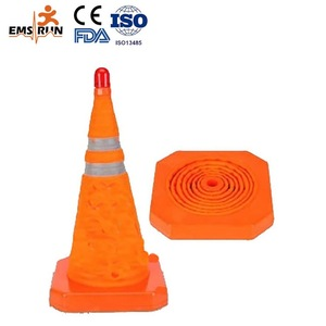 Collapsible reflective high traffic and safety road cone