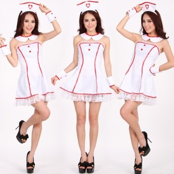 Adult Girls Halloween Costume Party Cosplay Sexy Hot Nude Nurse Doctor Costume Women