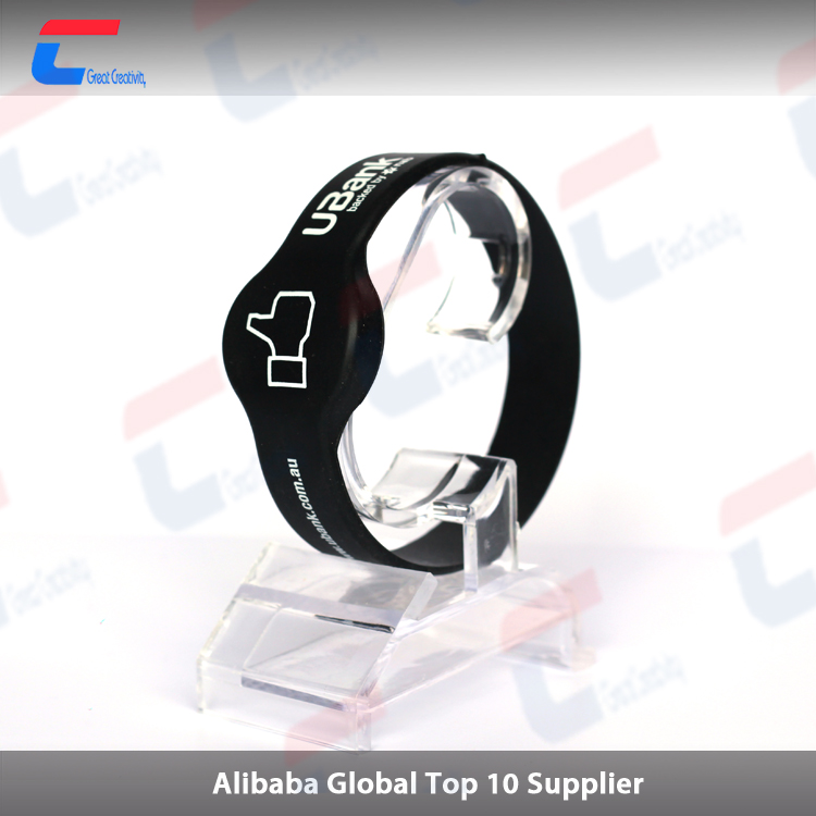 NFC Bracelets Programmable Black silicone Wristbands Works with Android
