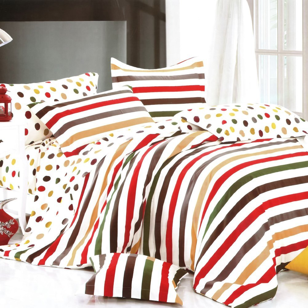 Rainbow stripes comforters for any bedroom decor style