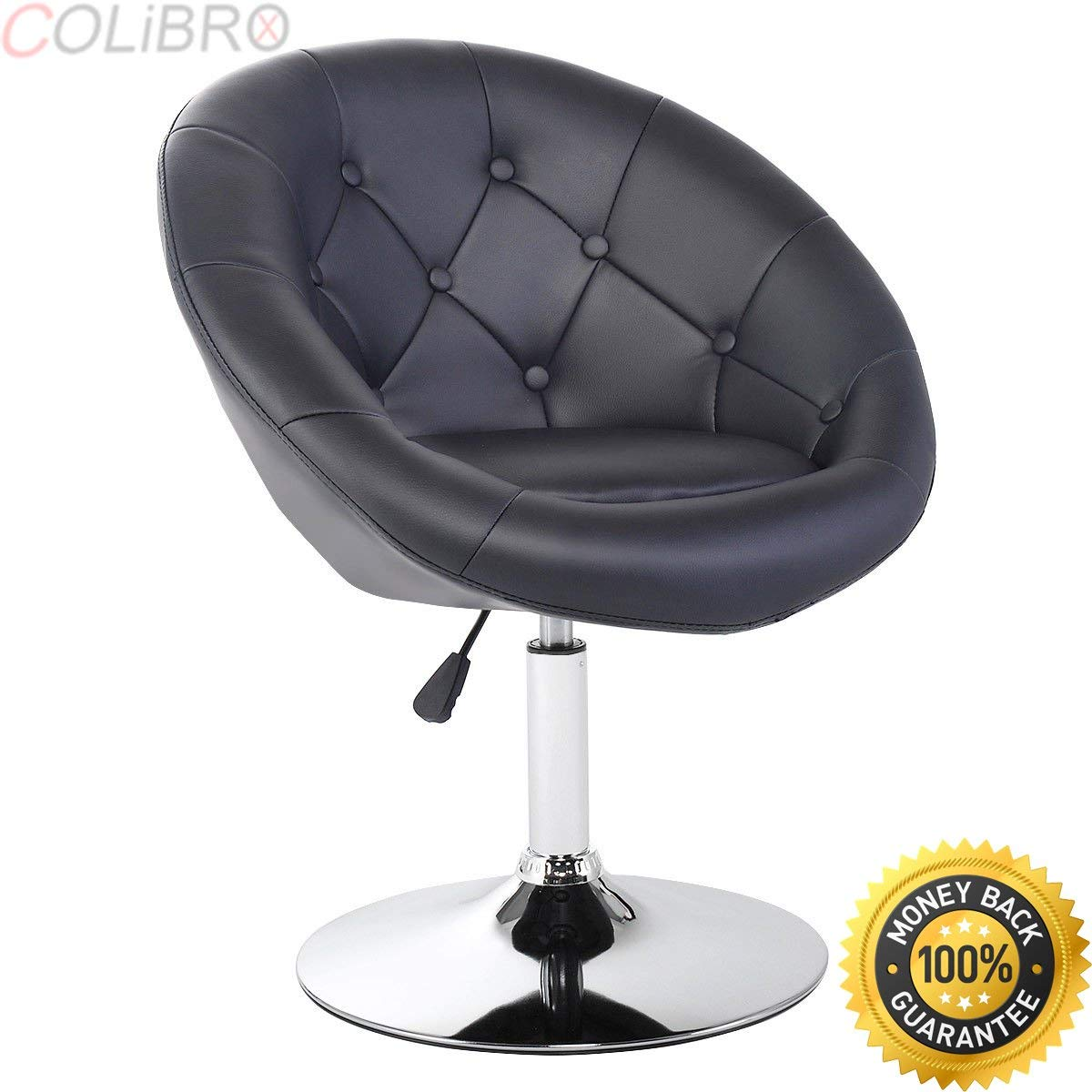 COLIBROX--1PC Adjustable Modern Swivel Round Tufted Back Accent Chair PU Leather Black New. faux leather chairs cheap. modern leather accent chairs. adjustable height living room black chairs amazon.