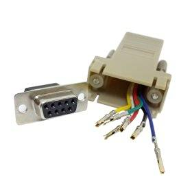 ChenYang RS232 D-Sub 9pin Female Extender To Lan Cat5 Cat5e RJ45 Ethernet Female Adapter Beige Color