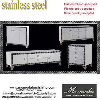 F458 Modern Contemporary Stainless Steel Silver/golden Imitated Leather  Luxury Neoclassic Sideboard Buffet Table Shoe Part 76