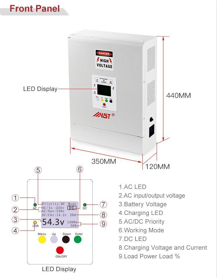 3 เฟส solar hybrid 24 v 48 v 1kw 2kw 3kw 5kw อินเวอร์เตอร์ราคา
