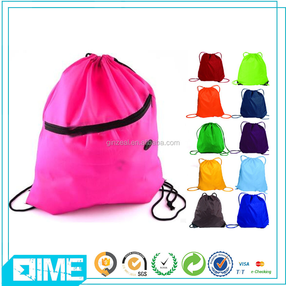 Eco Polyester Drawstring Backpack Purse With Zippered Pocket