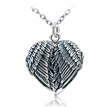 2017 Fashion 925 Sterling Silver heart pendant jewelry double angel wings pendant Necklace
