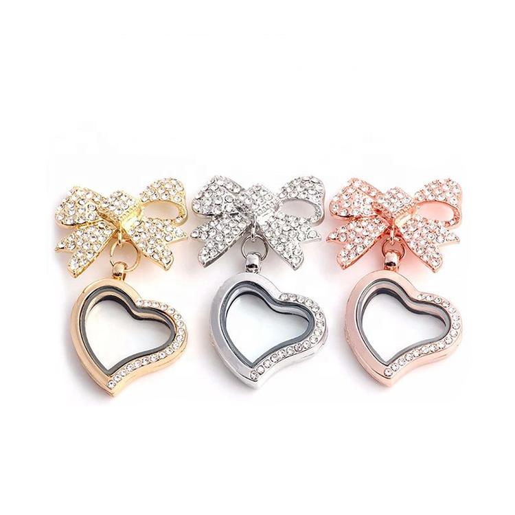 Heart Crystal Bowknot Memory Floating Locket Charm Pendant