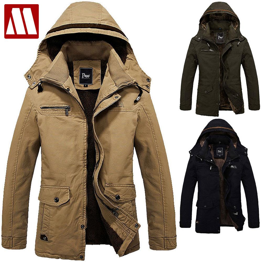 XQS Men Faux Fur Lined Faux Leather Jacket Winter Thicken Coats Outwear