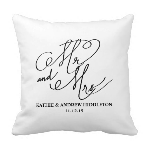 Pillows Cover Mr And Mrs Classy Typography Script Wedding Pillow Case (Size: 45x45cm) Free Shipping