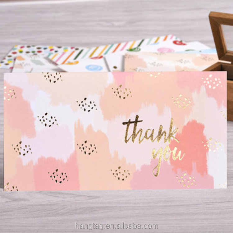 Beautiful Gold Foil Thank You Greeting Card Custom with Logo