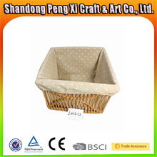 Rectangular willow storage basket with fabric lining