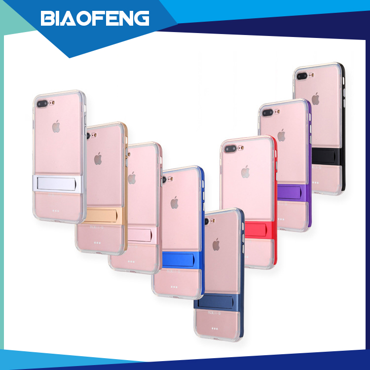 For iphone 7 plus case transparent crystal tpu pc crystal mobile back cover phone case with bracket support