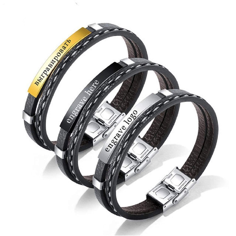 handmadejewelry Custom Men's Bracelets Stainless Steel Wristband Engraved Bracelets DIY Leather Bracelet for Men Women