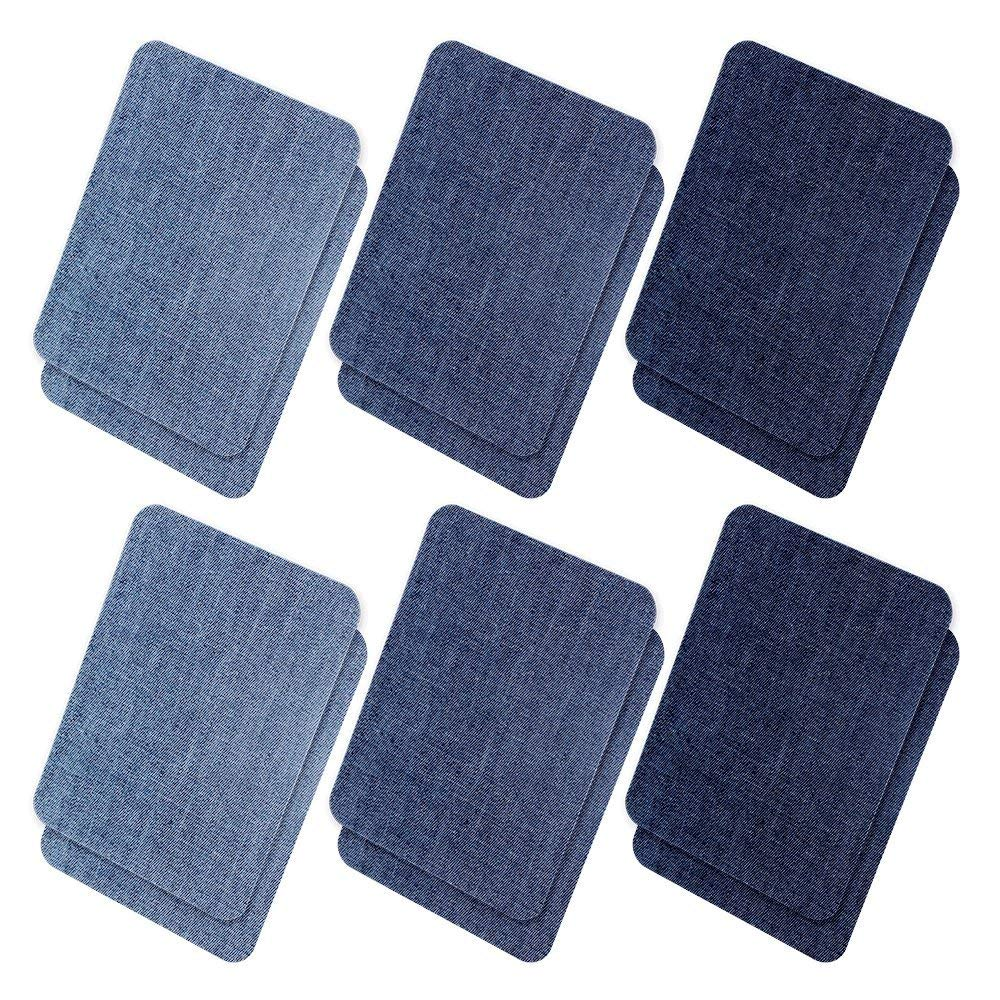 """Iron On Denim Patches For Clothing Jeans, 12Pcs No-Sew Denim Patches Assorted Cotton Jeans Repair Kit,Great For DIY Sew on Patch for Jeans, With 3 Assorted Colors (4.9"""" X 3.7"""")"""