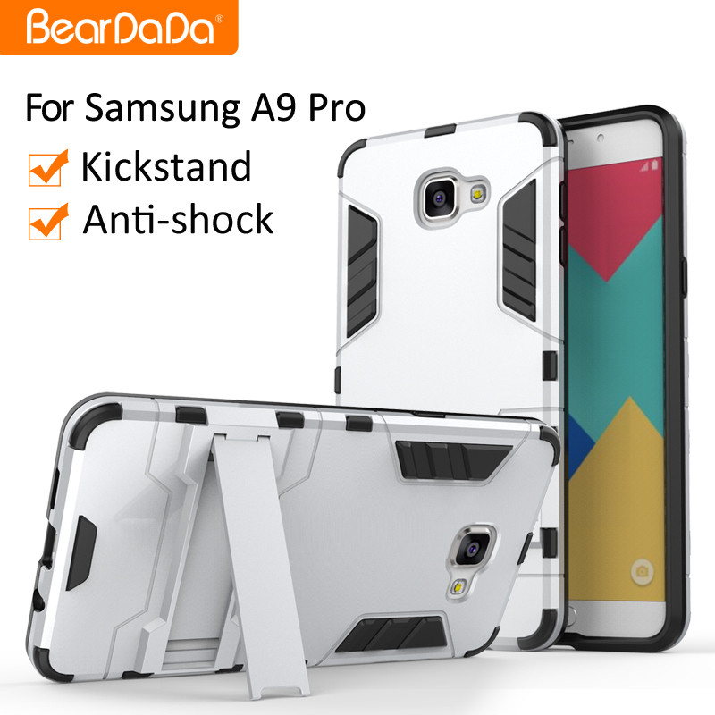Shockproof kickstand mobile phone body covers for samsung A9 pro