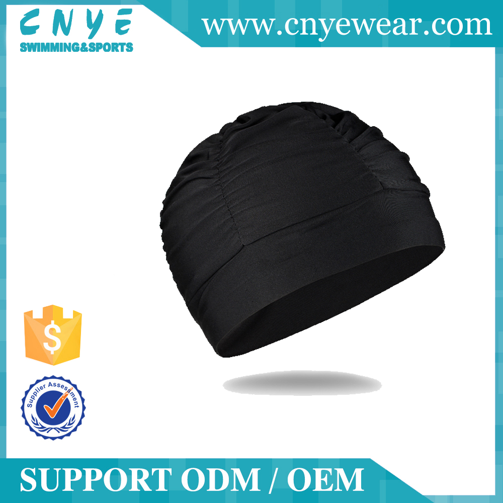 2016 New CNYE Adjustable Adult Black Silicone Long Hair Swim Cap