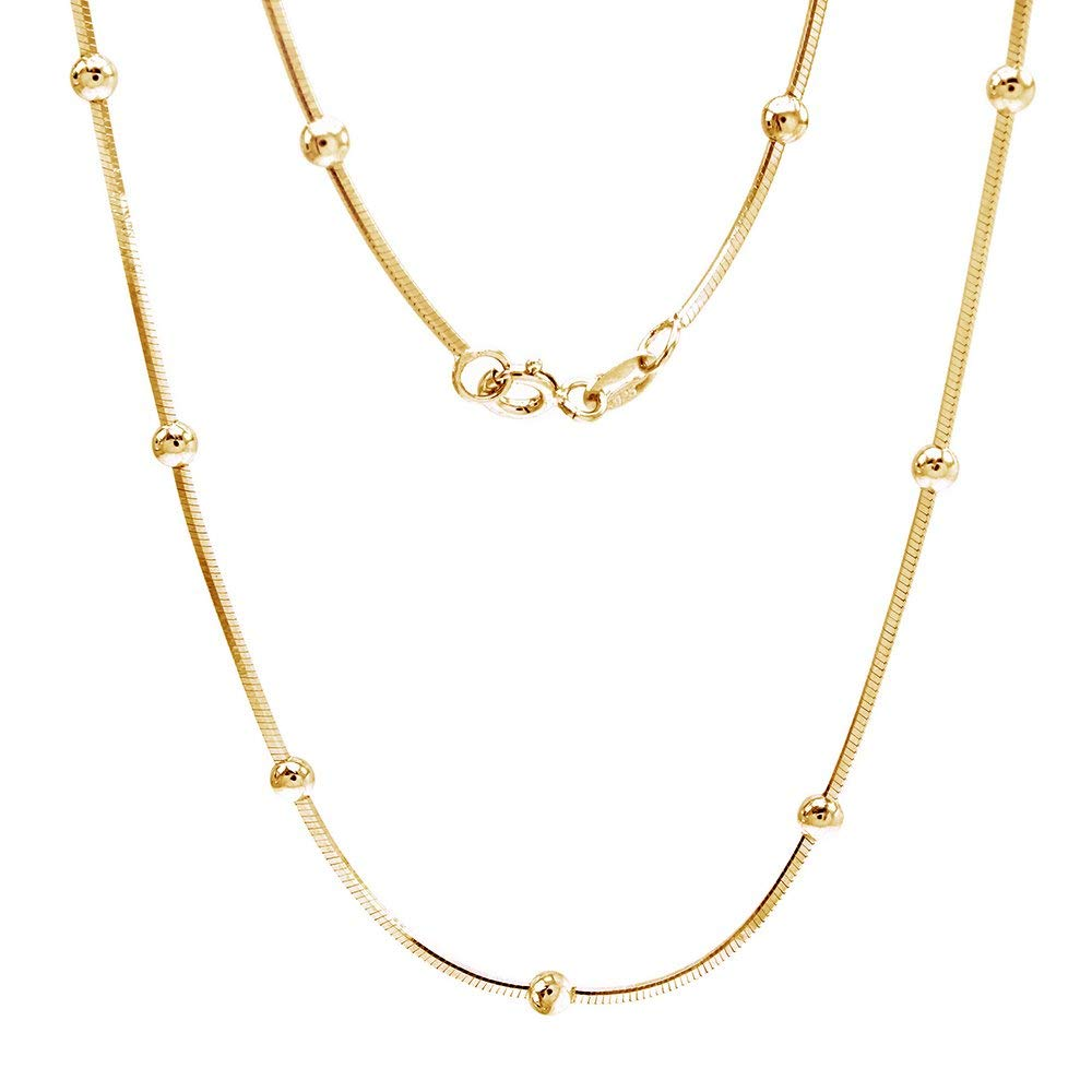 """Sterling Silver Italian Crafted 20"""" Square Snake Beaded Chain Necklace -1.0mm"""