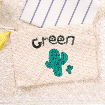 Women Clutch Green Cactus Embroidery Yellow Tassel Pp Handmade