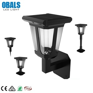 Obals All In One Home LED Garden Column Solar Post Light LED Solar Wall 2W Lawn Light