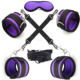 Purple Neoprene Under Bed Restraint Kit Handcuffs and Ankle Cuffs with Nylon Strap with Eye Mask and Cross