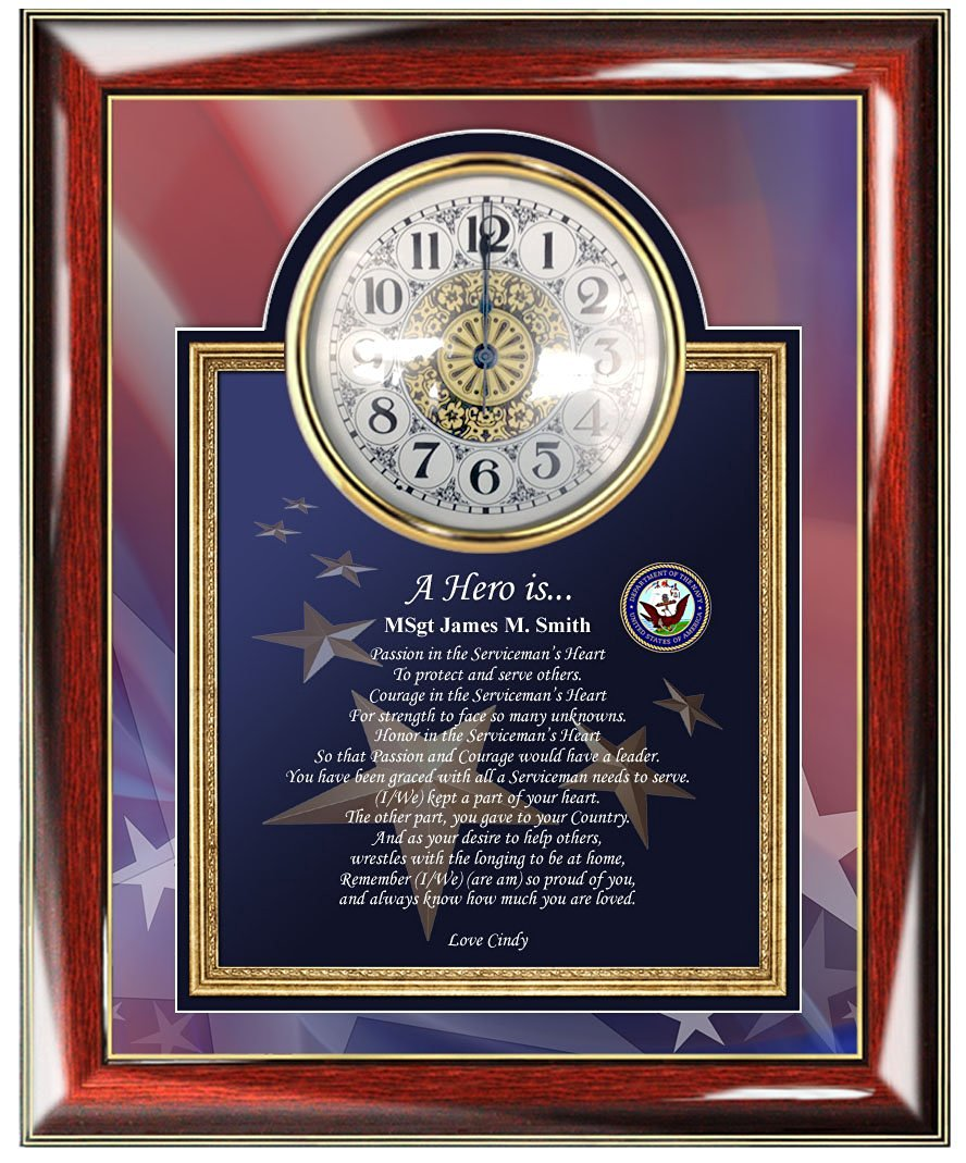 Buy Navy Poetry Gift Clock Frame Personalize Naval Sailor Present ...