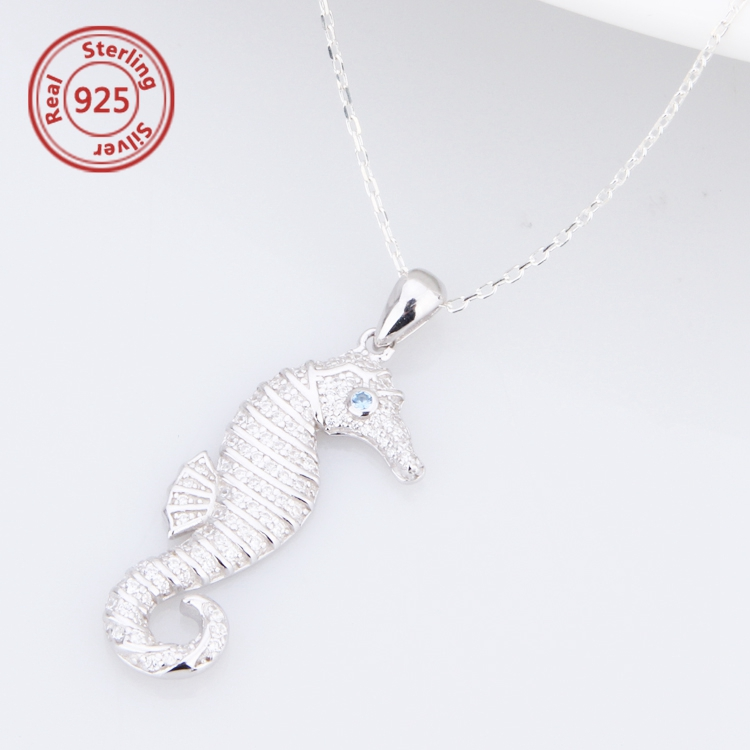 Sterling Silver seahorse necklace pendant Holiday gift Seahorse Necklace
