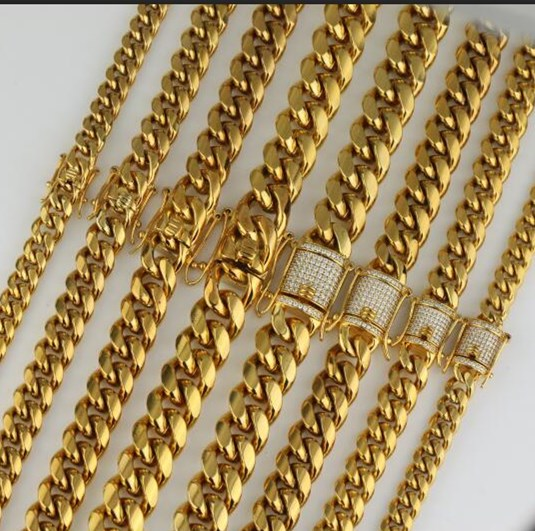 14K Gold Rope Chain Necklace Men 316l Stainless Steel Gold Chain