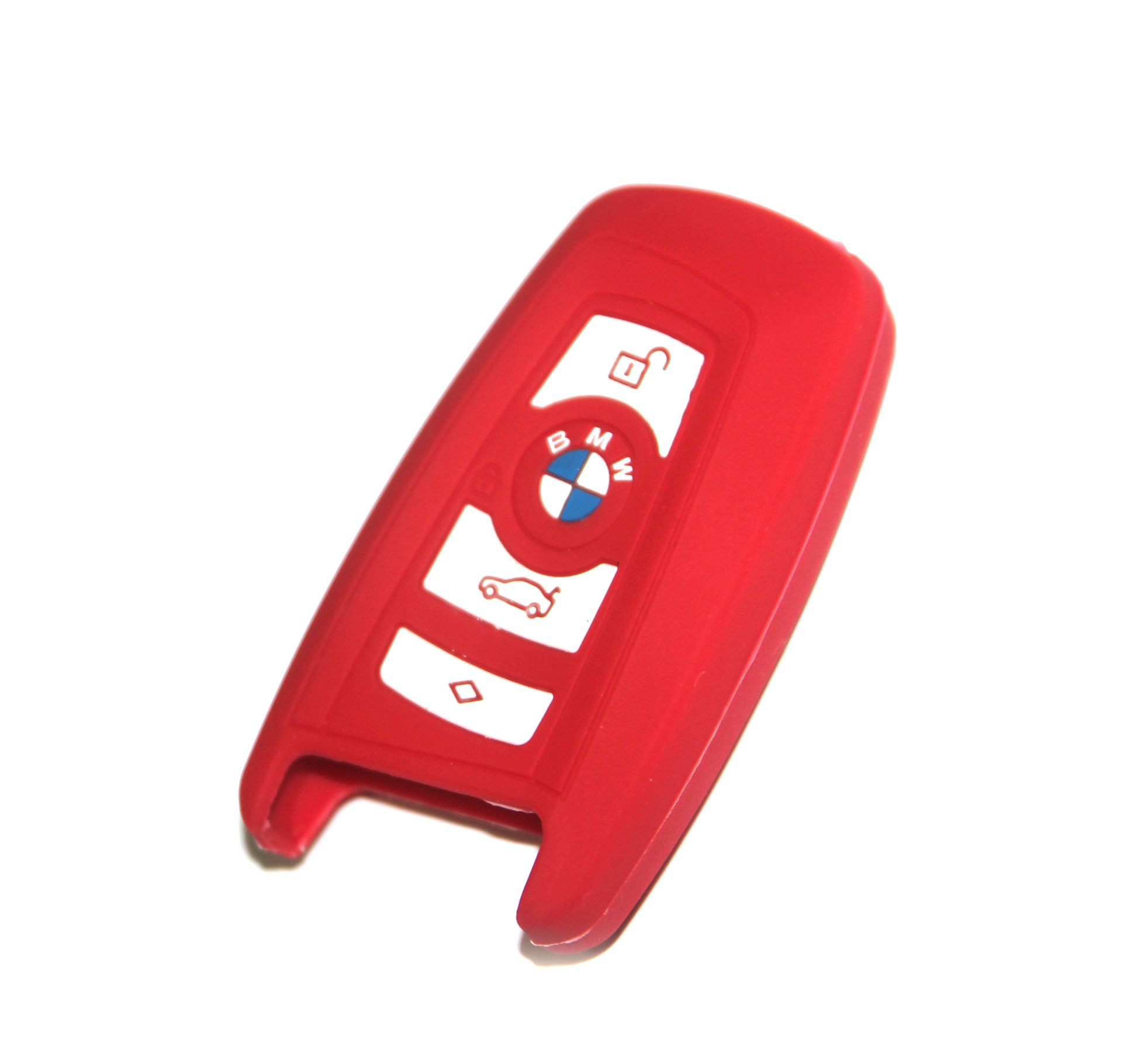 BMW Key Cover Red Silicone Keyless Remote Control Protecting Case Smart Key Holder Fob 3 Buttons (Single Pack)