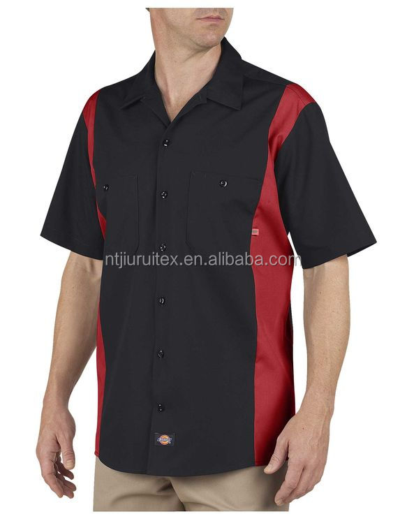 Men's TC 65/35 Black And Red Color Block Short Sleeve Work Shirt