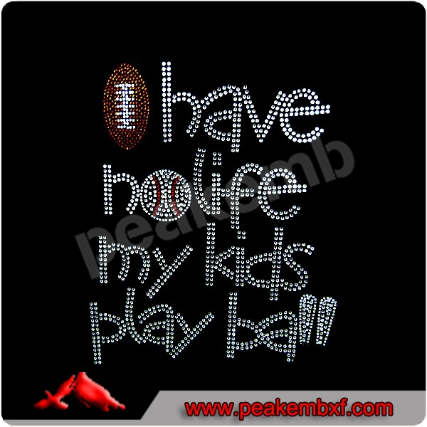 I have no life my kids play baseball hot fix rhinestone motif for tshirts