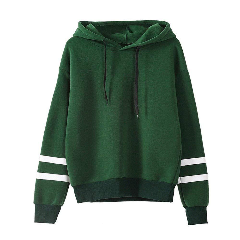 Hengshikeji Womens Casual Long Sleeve Striped Panel Crop Top Hoodies Sweatshirts Coat Blouses Shirts Jumpers Tunic Pullover