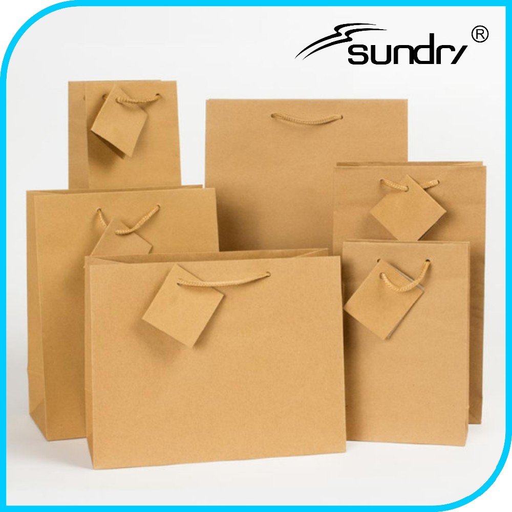 Green travel protection craft kraft paper bag with logo print bag
