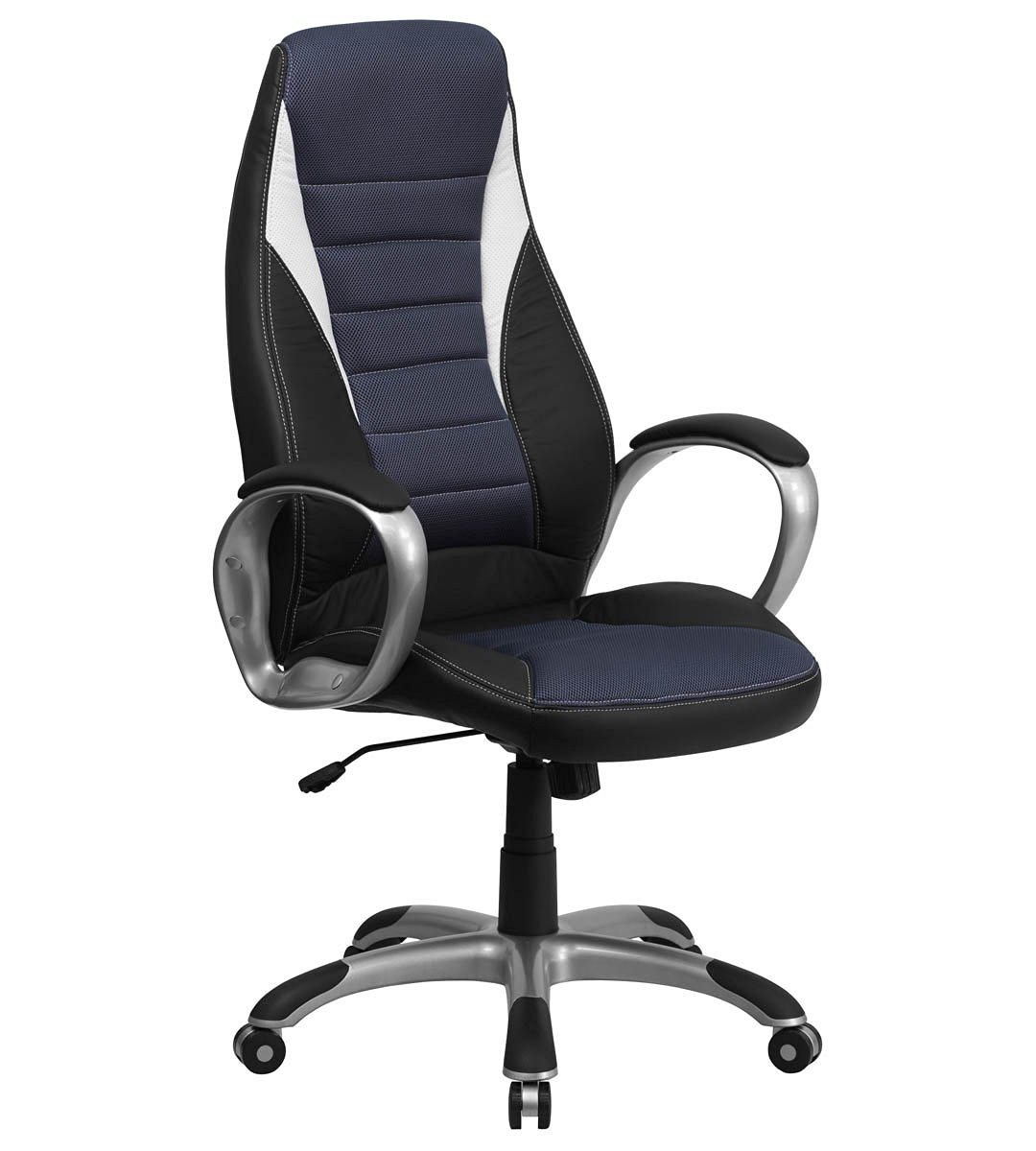 High Back Black Vinyl Executive Office Chair with Blue Mesh Insets